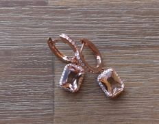 14 kt gold earrings with morganite and diamond, measurements: 24 mm
