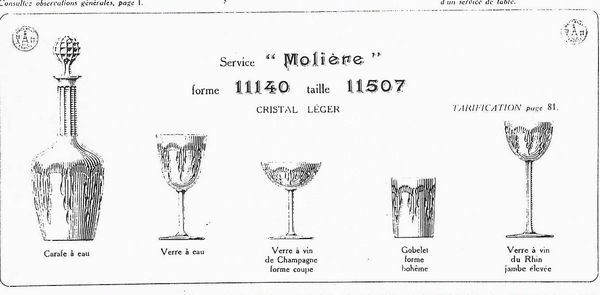 Image 2 of Baccarat - Moliere model wine decanter from the 1916 catalog - Crystal