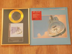"""Dire Straits """" Brothers In Arms """" framed gold coloured CD display with printed signature & """" Brothers In Arms """" Double LP."""