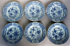 6 plates painted in blue and white Kangxi China 18th century