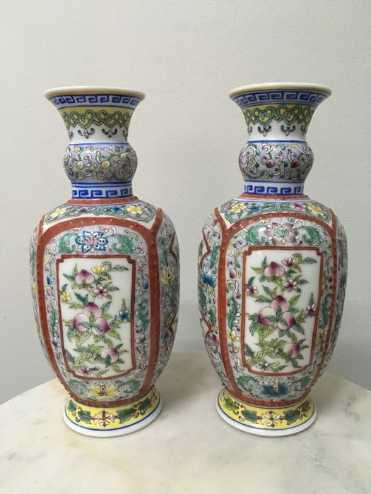 2 Porcelain Famille Rose Vases - China - late 20th century