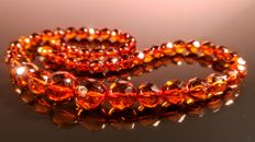 Cognac colour hand Faceted Baltic Amber necklace,  length 47
