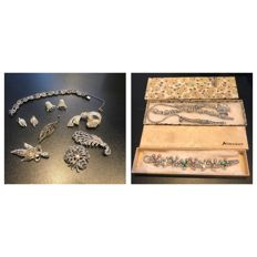 Vintage collection of corocraft and Art Deco silver gem set bracelet and earrings and brooches