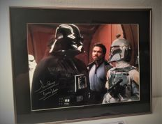 Boba Fett And Darth Vader Signed Photo In Deluxe Black Frame With COA