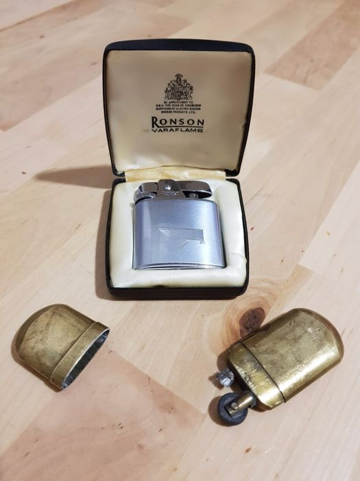 Former Austrian petrol lighter from 1920 + Ronson lighter from 1980