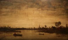 Jean van de Putte (1828 - 1872) - View on a Flemish landscape with water and people