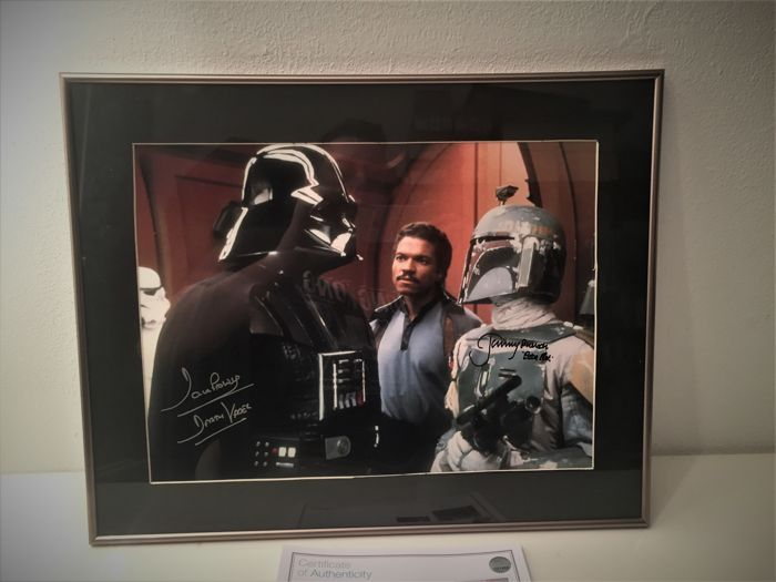 boba fett and darth vader signed photo in deluxe black. Black Bedroom Furniture Sets. Home Design Ideas
