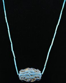 "Egyptian faience necklace with ""Wedjat"" Eye Amulet. 58 cm"