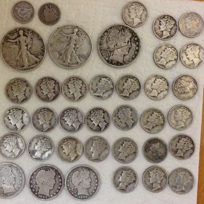 USA - Lots of 37 coins 1843/1945 - silver