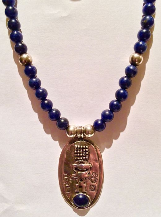 Silver 925 necklace&pendant with 49 lapis lazuli stones (beads), 53 g together