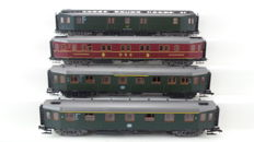 Roco H0 - 4290/4291/4293/4292 - Four 'Hecht' carriages 1st/2nd class with postal car and sleeping carriage DSG of the DB