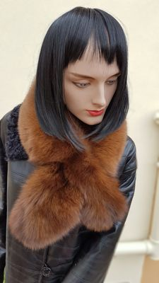 Black fox fur scarf - No minimum price