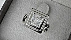 1.89 ct radiant solitaire diamond  ring 18 kt in white gold - size 6