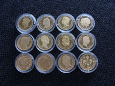 The Netherlands - Re-strikes of coins Louis Napoleon up to Beatrix - 12 pieces - gold-plated silver