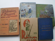 Robinsonade; Lot with 5 variants of the Robinson Crusoe story - 1890 / 1920