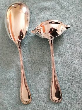 Christofle, ribbon model, silver plated metal serving spoon + sauce ladle
