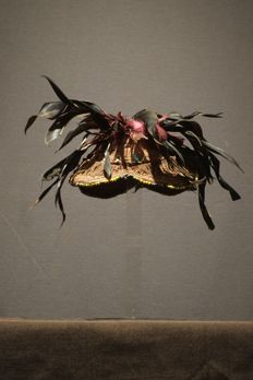 Kuba Laket Hat with feathers and beads , Democratic Republic of the Congo