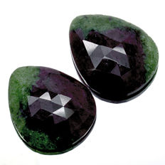 Two Ruby with Zoisite - 38.55 ct  (20.37 ct. + 18.18 ct. ) - No reserve price