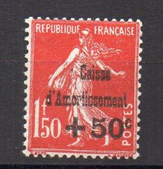 France 1931 – In favour of the Sinking fund, variety C of 'Caisse' above the T of 'Amortissement' – Yvert no. 277A
