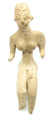 Indus Valley Terracotta Bald Seated Female Fertility Idol  / Figurine  - 123 mm