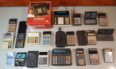 Collection of 17 vintage calculators (different famous vintage brands)