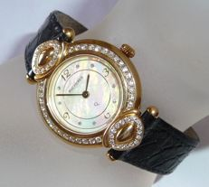 "Bucherer ladies' wristwatach ""Paradiso"" 18 kt gold with crocodile leather strap and approx. 1.2 ct diamonds / brilliant cut"