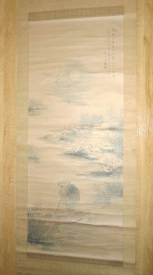 "Handpainted hanging scroll attributed to Tanomura Chikuden (1777-1835) - ""Moon, Geese and Man"" - Japan - Early 19th century"