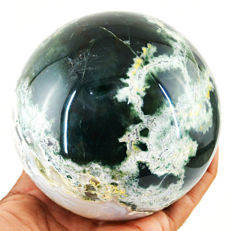 "Top Rare Green Moss Agate ""healing ball"" - 102 mm - 1141 gm"