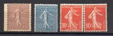 France 1903/22 - Selection of lined and plain background Semeuse stamps - Yvert no. 131, 134, 135 and 161