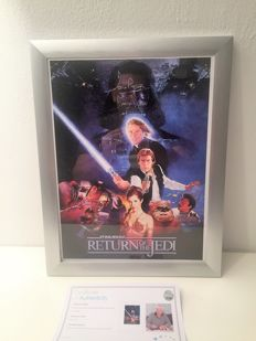 Darth Vader Signed Return Of The Jedi Poster In Deluxe silver  Frame