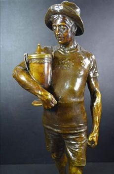 J. Canalias - bronze statue of a Cup winner - Barcelona, Spain - dated 1908