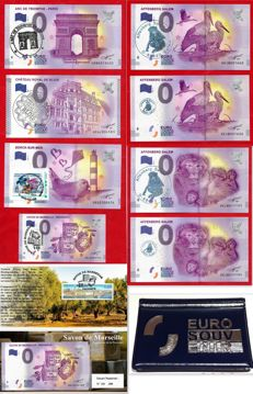 France - Special collector's collection of 9 banknotes of €0, Euro Souvenir with exclusive handstamps + luxury album - Years 2015-2017