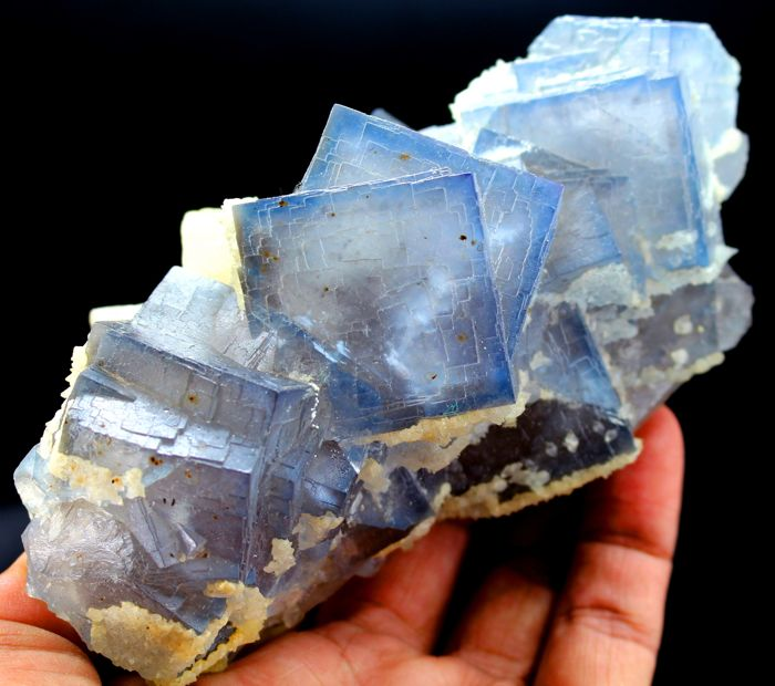 Undamaged Colorful Cubic Fluorite Crystal Cluster with Phantoms & dog's tooth Calcite - 138 x 72 x 63mm - 743 gm