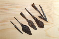 Medieval iron arrowheads -60-86 mm (5)