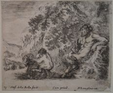 "Stefano Della Bella (1610-1664) "" A Satyr sitting against a tree....."" Circa 1643"