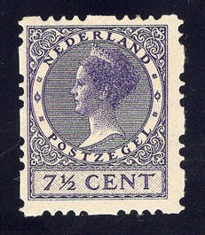 The Netherlands 1927 - Syncopated perforation, 3 holes vertical - NVPH R32, with certificate