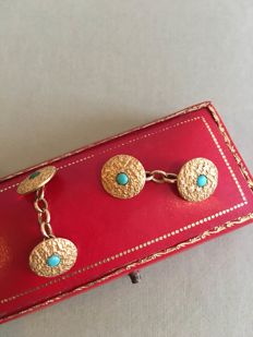 18kt Gold and Turquoise antique Cufflinks