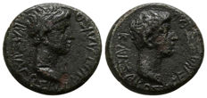 Rhoemetalkes I with Augustus AE client king of Thrace, AE20. ca 11 BC - 12 AD