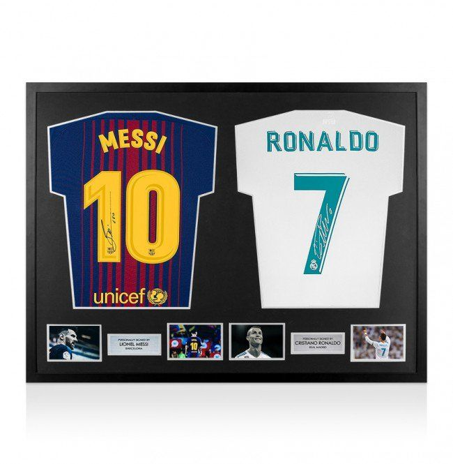 431c9861f Lionel Messi and Cristiano Ronaldo - Official Dual Signed Shirts 17 18 in  Brand New