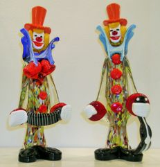 Rubelli Vetri d'Arte - pair of large clowns