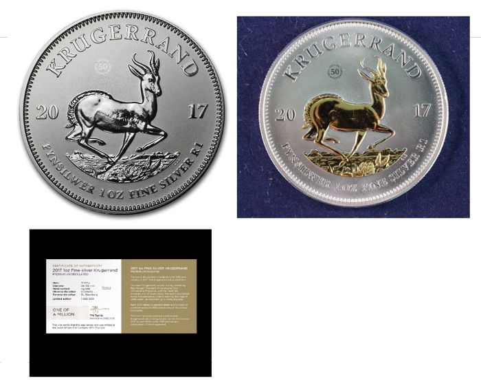 South Africa - two 1 Rand - two 1 oz 999 Krugerrand - 50 years Krugerrand Anniversary Edition - 1 gilded and 1 standard BU - with 999 gold finishing - First Silver Krugerrand