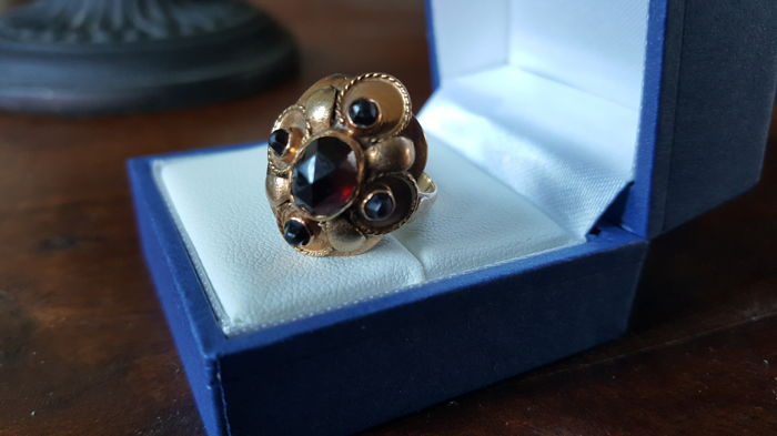 Yellow/Rose Gold Women's ring set with Wine red Garnets Low Reserve Price!