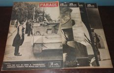 5 Large British WWII Magazines 'Parade' Printed for the British Forces in North Africa 'Dessert Rats'