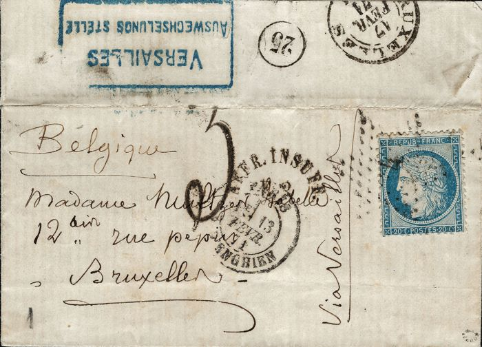 France 1871 - War of 1870, Armistice, very rare letter from Paris passed by the censors at Versailles stamped 20 c siege - Yvert number 37