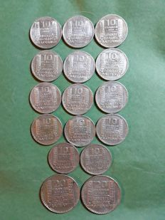 France - Lot of 16 coins (10 and 20 francs 'Turin') 1929/1933 - Silver
