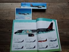 Hergé - Model plane Brussels Airlines + magazine Inspired + postcard - Airbus A320 Rackham - Tintin (2016)