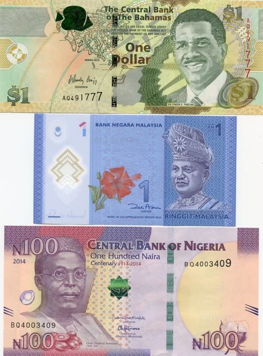 World - 15 New Banknotes - all recently issued - not listed in Pick