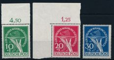 """Berlin 1949 - """"For the victims of the Berlin currency reform"""", Michel 68-70"""