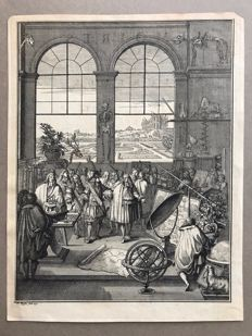 Claude Duflos (1700-1786). Louis XIV Visiting the Royal Academy of Sciences, 1730