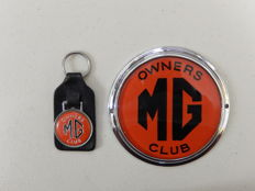 Vintage Chrome Auto Car Badge MG Owners Club Bright Red Version and MG Owners Club Key Ring Key Fob